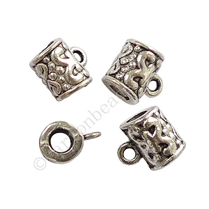 Pendant Holder - Antique Silver Plated - ID 4mm - 15pcs