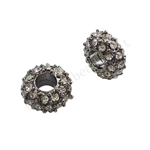 Large Hole Metal Bead With Crystal - ID 3.6mm - 2pcs