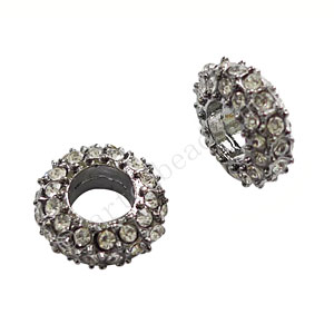 Large Hole Metal Bead With Crystal - ID 5mm - 2pcs