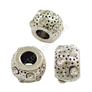 Large Hole Metal Bead With Crystal - ID 4.9mm - 4pcs