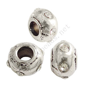Large Hole Metal Bead With Crystal - ID 4.8mm - 4pcs