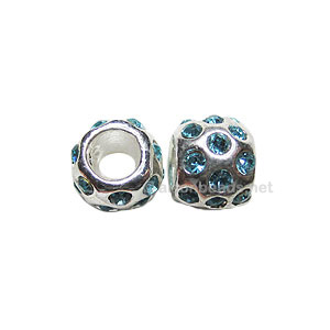 Large Hole Metal Bead with Crystals