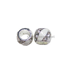 Large Hole Metal Bead with Crystal and Enamel - 9.2x12.6mm-2pcs