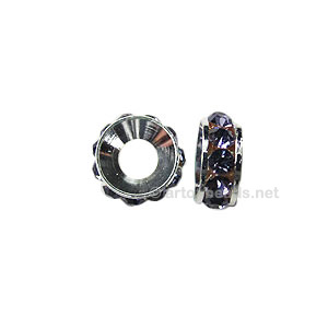 *Large Hole Metal Bead with Crystals - 10mm - 4pcs