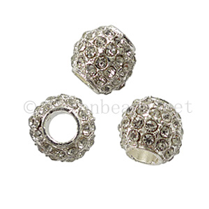 Large Hole Metal Bead with Crystals - Crystal - ID 5.3mm - 2pcs
