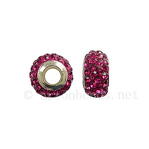 Large Hole Full Diamond Ball - Ruby - ID 4.8mm - 2pcs