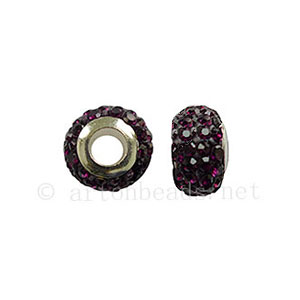 Large Hole Full Diamond Ball - Amethyst - ID 4.8mm - 2pcs