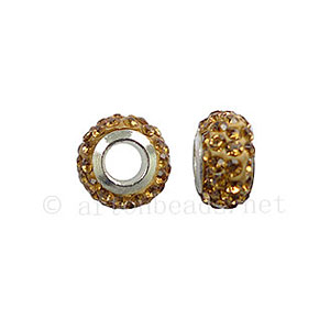 Large Hole Full Diamond Ball - Light Colorado Topaz - ID 4.8mm -