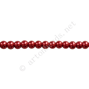 Raspberry Red - Chinese Glass Pearl - 4mm - 32""