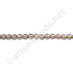Light Brown - Chinese Glass Pearl - 4mm - 32""