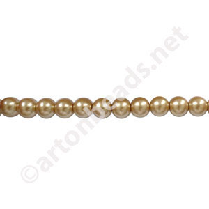 Golden - Chinese Glass Pearl - 6mm - 32""