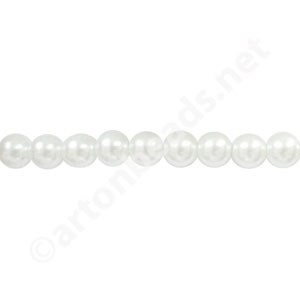 *White - Chinese Glass Pearl - 8mm - 30""