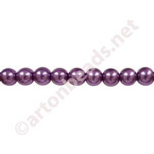 Dark Purple - Chinese Glass Pearl - 8mm - 30""