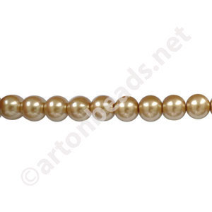 Golden - Chinese Glass Pearl - 8mm - 32""