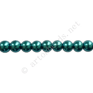 Indicolite - Chinese Glass Pearl - 8mm - 32""