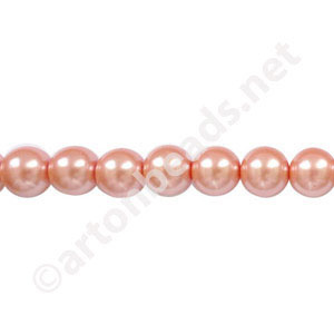 Salmon - Chinese Glass Pearl - 10mm - 32""