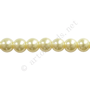 Ivory - Chinese Glass Pearl - 10mm - 32""