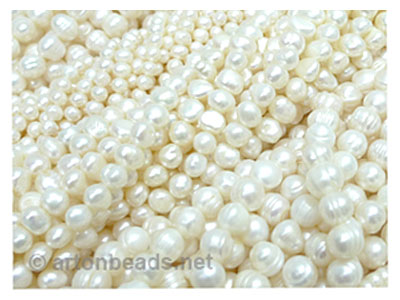 Freshwater Pearl Strands - 4 assorted white color strands