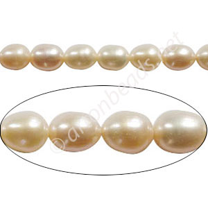 "White - Fresh Water Pearl - Rice - 5mm - 14"" ( P3D )"