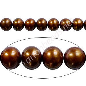"Brown - Fresh Water Pearl - Potato - 5mm - 16"" ( P19C )"