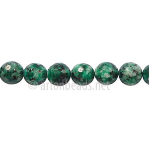 Colored Agate - Malachite - Faceted Round - 6mm - 15""