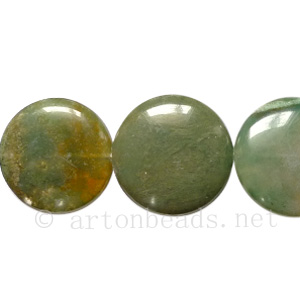 Indian Agate - Puff Coin - 18mm