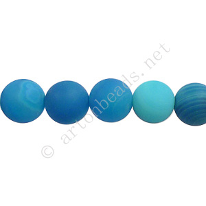 Stripe Agate - Matte Blue - Round - 8mm