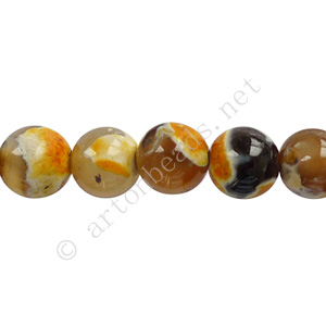Fire Agate - Orange Yellow - Round - 8mm