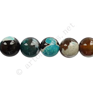 Fire Agate - Blue - Round - 8mm