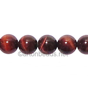 Red Tiger's Eye - Round - 8mm
