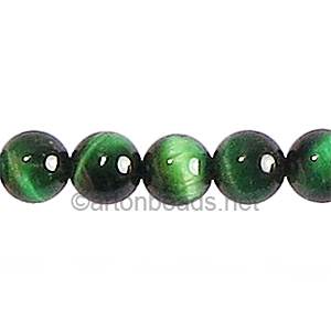 Dyed (Green) Tiger's Eye - Round - 8mm