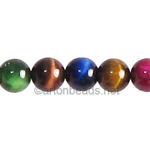 Dyed (Mix Colors) Tiger's Eye - Round - 8mm