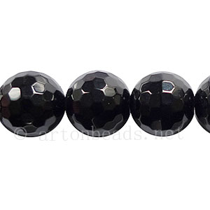 Black Agate - Faceted Round - 12mm
