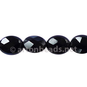 Black Agate - Faceted Oval - 10x8mm