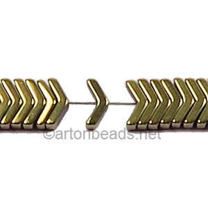 Electroplated (Gold) Hematite - V Shape - 1.2X6.3mm