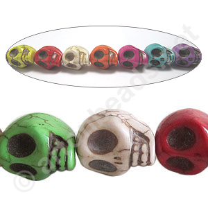 Dyed Turquoise - Skull - 18x13mm