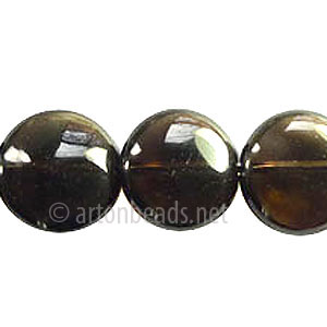 Smoky Quartz - Puff Coin - 14mm