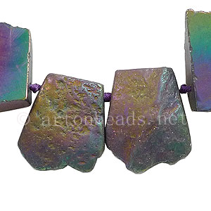 Agate - Trapezoid - Electroplated Rainbow - 19x32-25x42mm