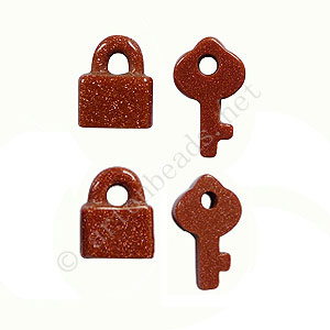 Gold Sand Stone - Lock & Key - 15x12 - 22x12mm - 4pcs