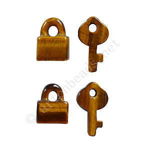 Tiger's Eye - Lock & Key - 15x12 - 22x12mm - 4pcs