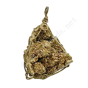 Druzy Pendant - Gold - 43x31 - 63x40mm - 1pc