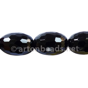 Black Agate - Faceted Drum - 20x14mm