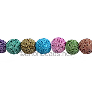 Lava Stone - Multi-color - Round - 6mm