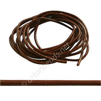 Genuine Leather Cord - Brown - 1.5mm x 3M