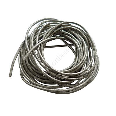 Genuine Leather Cord - Silver - 1.5mm x 3M