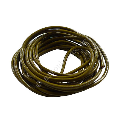 Genuine Leather Cord - Olive - 2mm x 2M