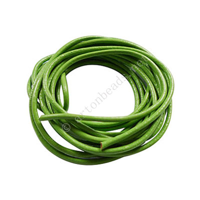 Genuine Leather Cord - Apple Green - 2mm x 2M