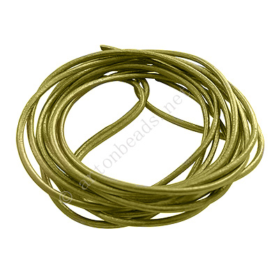 Genuine Leather Cord - Olive Pearlized - 2mm x 2M