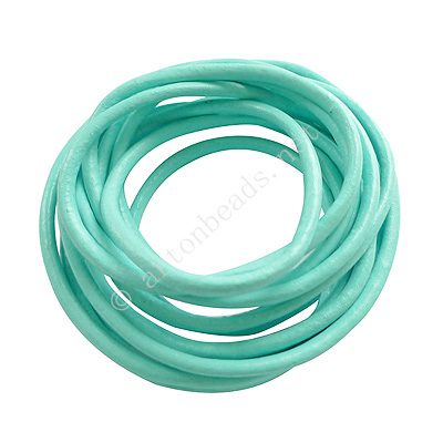 Genuine Leather Cord - Turquoise - 3mm x 2M
