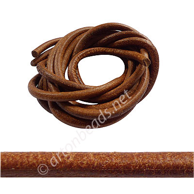 Genuine Leather Cord - Nature - 5mm x 1M